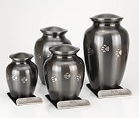 Paw Print Series, brushed nickel urn